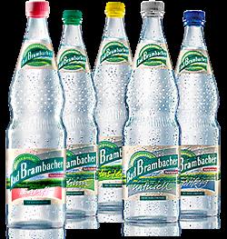 Mineralwasser naturell, Mineralwasser sanft, Mineralwasser medium, Mineralwasser spritzig, Mineralwasser plus Lemon
